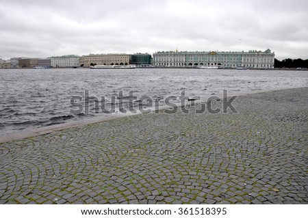 View of the Winter Palace, the Neva River in St.Petersburg. Saint Petersbur. Russia.