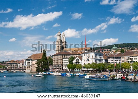 View of the Zurich donwtown (Switzerland, 2009) - stock photo