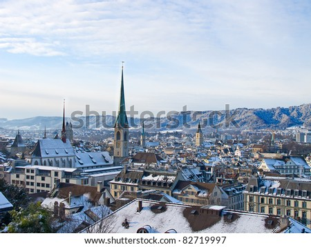View of the Zurich donwtown (Switzerland, Winter 2011) - stock photo