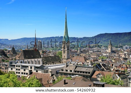 View of the Zurich downtown (Switzerland, 2009) - stock photo
