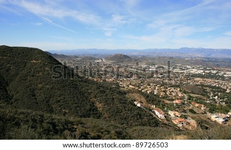 View of Thousand Oaks, California with clouds and hills - stock photo