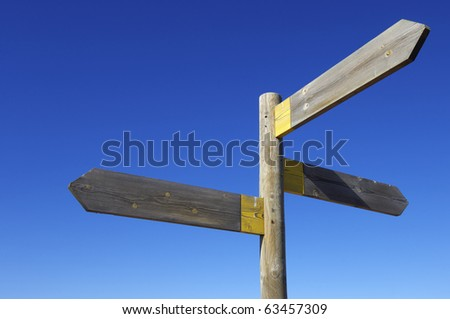 view of three wooden directional signs on a pole