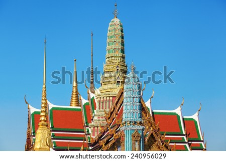 view of thte Buddhist Temple Wat Phra Kaew, one of the main landmarks of Bangkok, Thailand - stock photo