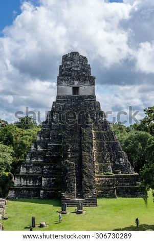 View of Tikal pyramid, a mayan site in Guatemala - stock photo