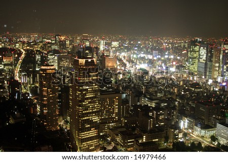 View of Tokyo downtown at night from Tokyo tower - stock photo