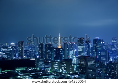View of Tokyo downtown at night with Tokyo Tower - stock photo