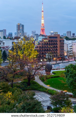 View of Tokyo Tower in Tokyo, Japan - stock photo