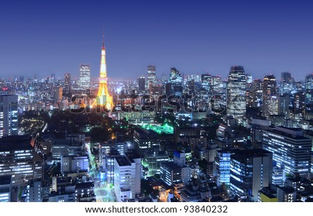 View of Tokyo Tower in Tokyo, Japan. - stock photo