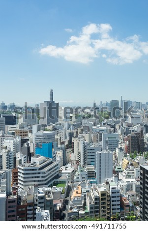 View of Tokyo urbanscape in Jinbo-cho, Tokyo, Japan