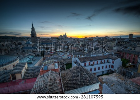 View of Toledo in Castilla-La Mancha, Spain on a Spring day at dusk. - stock photo