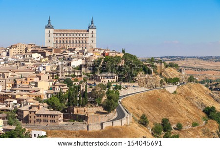 View of Toledo With Alcazar On Top,Medieval Town,Spain. - stock photo