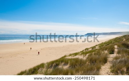 View of Tolsta beach in the  Isle of Lewis, Outer Hebrides, Scotland, UK. - stock photo