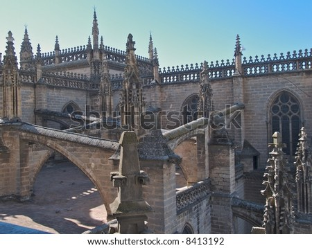 view of top of cathedral in seville spain