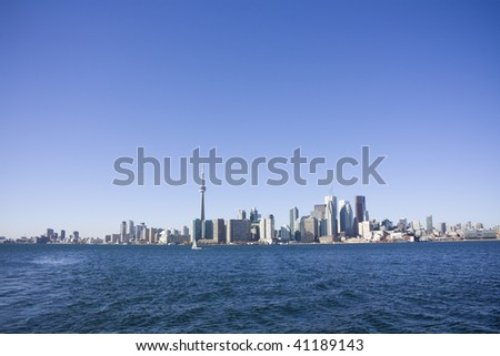 View of toronto from toronto island ferry - stock photo