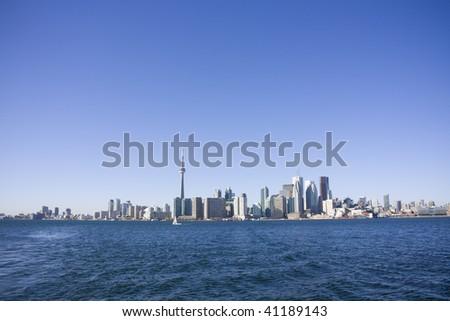 View of toronto from toronto island ferry - stock photo