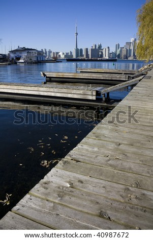 View of Toronto from Toronto island with docks in the foreground