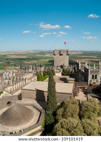 View of tower and interior of castle of Almodovar del Rio, Andalusia, spain - stock photo