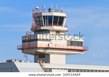 View of tower - Blue Danube Airport, Linz, Austria - stock photo