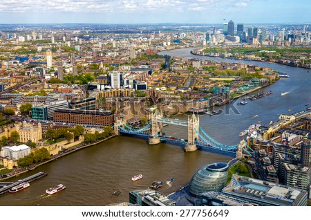 View of Tower Bridge from the Shard - London, England - stock photo