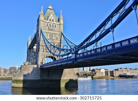 View of Tower Bridge in London - stock photo