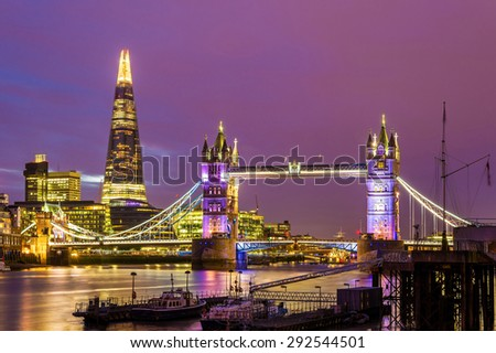 View of Tower Bridge in the evening - London - stock photo
