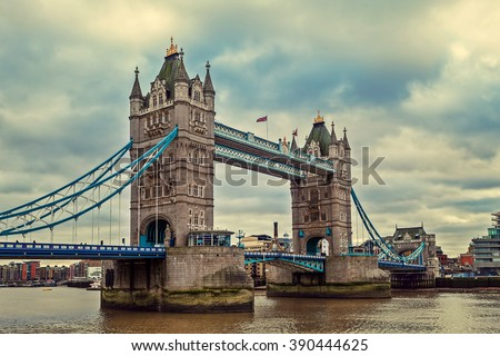 View of Tower Bridge under cloudy sky in London, UK (toned). - stock photo