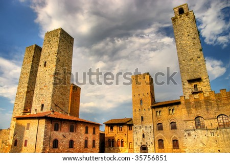 view of towers San Gimignano - medieval town of Tuscany - stock photo