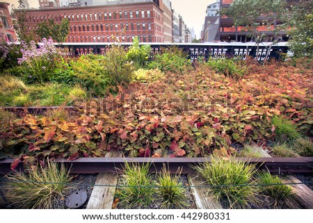 View of tracks and garden seen along The High Line Park