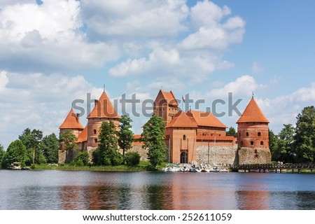 view of Trakai Island Castle. The construction of the stone castle was begun in the 14th century and around 1409 major works were completed - stock photo