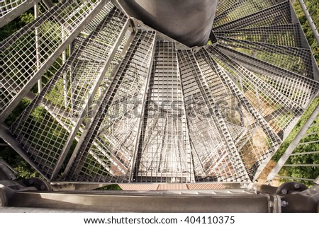 View of Transparent Metal Staircase Landscape Lookout Tower Down