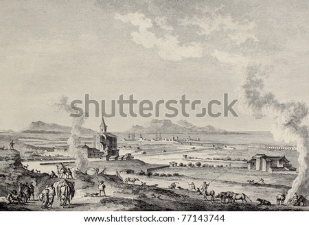 View of Trapani and Aegadean islands, Sicily. Created by Desprez and L'Epine, published on Voyage Pittoresque de Naples et de Sicilie, by J. C. R. de Saint Non, Imprimerie de Clousier, Paris, 1786 - stock photo
