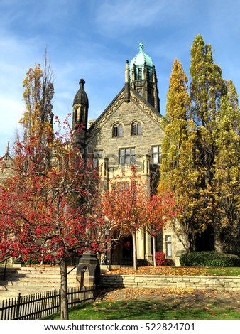 View of Trinity College at University of Toronto in Toronto, Canada,  November 18, 2016