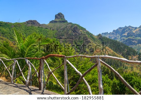 View of tropical green valley in mountains of Madeira island, Portugal - stock photo