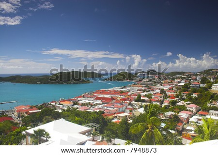 View of tropical town at the island in Caribbean