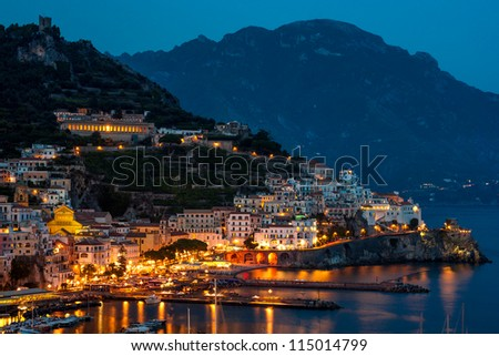 View of tte Amalfi city at night, Italy - stock photo