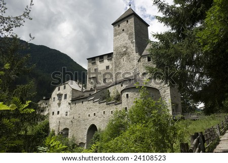 View of Tures Castle. Medieval fortification at the entrance to the Aurina Valley, South Tyrol Italy