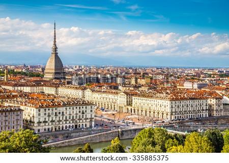 View of Turin city center with landmark of Mole Antonelliana-Turin,Italy,Europe - stock photo