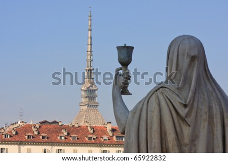 View of Turin's simbol take from Gran Madre curch. Italy - stock photo
