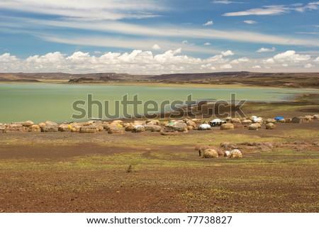 View of Turkana Village, Kenya - stock photo