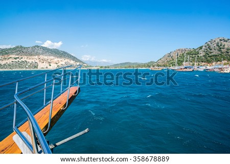 View of  Turkey coast   to recreational ship - stock photo