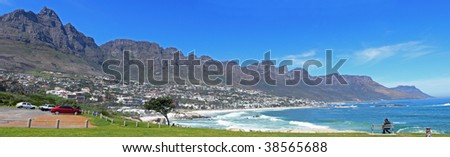 View of Twelve Apostles from Camps Bay, Cape Town, South Africa