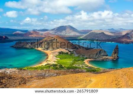 View of two beaches on Bartolome Island in the Galapagos Islands in Ecuador - stock photo