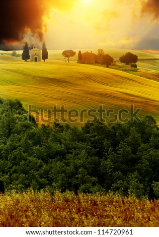 View of typical autumn Tuscany landscape - stock photo
