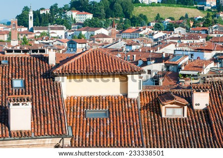 View of typical roofs of some houses in Vicenza - stock photo