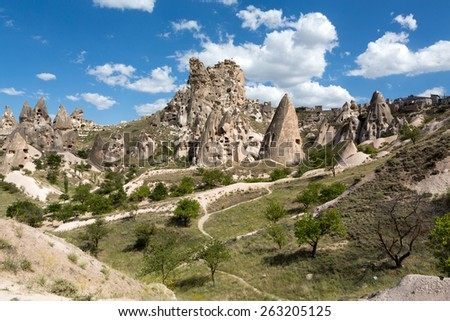 view of Uchisar castle in Cappadocia , Turkey - stock photo