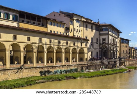 view of Uffizi Gallery from Arno river in Florence, Italy  - stock photo