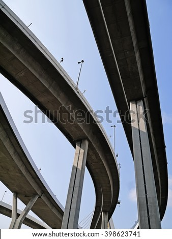 View of under the Grand King Bhumibol Bridge, group of curve bridge with blue sky.  The bridge crossing the Chao Phraya river in Bangkok, Thailand.