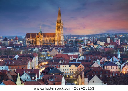 View of unesco heritage and historic bavarian city Regensburg. - stock photo