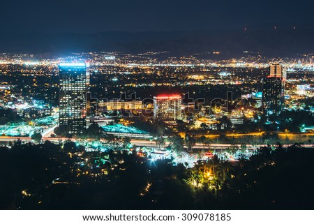 View of Universal City from the Universal City Overlook on Mulholland Drive, in Los Angeles, California.