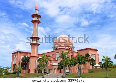 View of University Mosque on cloudy day, located at Kota Kinabalu, Sabah, Malaysia.